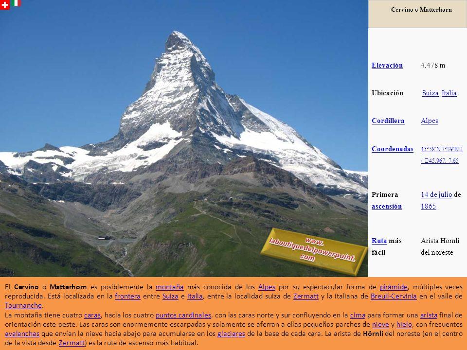 Cervino o Matterhorn Elevación4.478 m Ubicación Suiza Italia Suiza Italia CordilleraAlpes Coordenadas 45°58N 7°39E / 45.967, 7.65 Primera ascensión ascensión 14 de julio14 de julio de 1865 1865 RutaRuta más fácil Arista Hörnli del noreste El Cervino o Matterhorn es posiblemente la montaña más conocida de los Alpes por su espectacular forma de pirámide, múltiples veces reproducida.