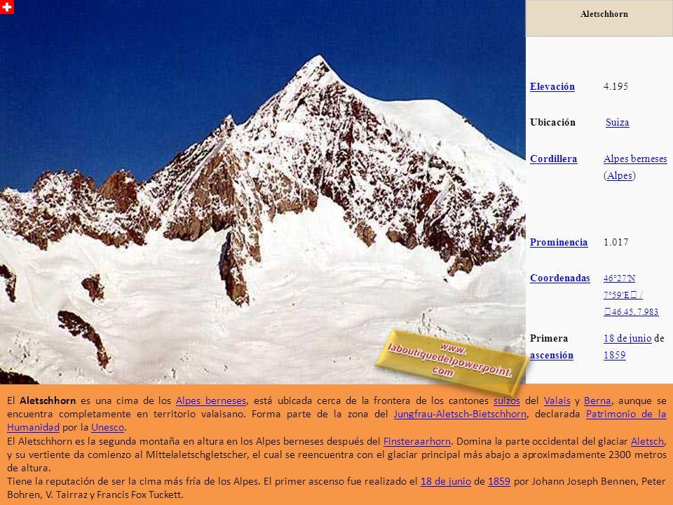 Aletschhorn Elevación4.195 Ubicación Suiza Cordillera Alpes berneses Alpes berneses (Alpes)Alpes Prominencia1.017 Coordenadas 46°27N 7°59E / 46.45, 7.983 Primera ascensión ascensión 18 de junio18 de junio de 1859 1859 El Aletschhorn es una cima de los Alpes berneses, está ubicada cerca de la frontera de los cantones suizos del Valais y Berna, aunque se encuentra completamente en territorio valaisano.