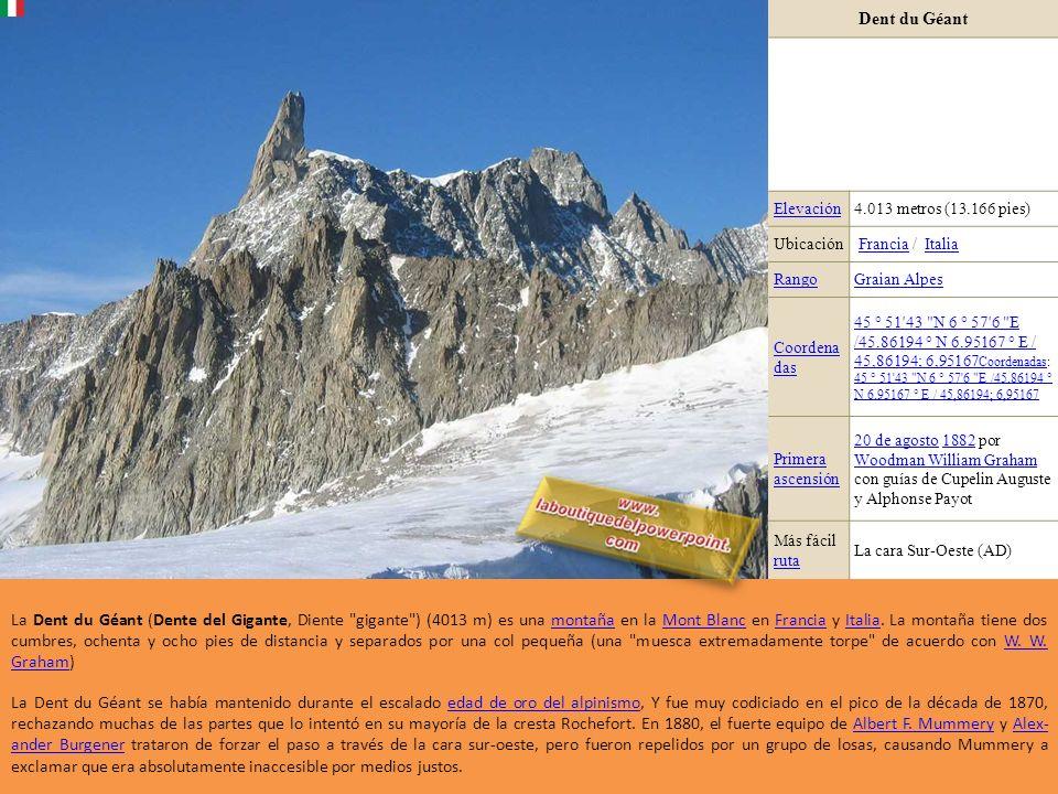 Dent du Géant Elevación4.013 metros (13.166 pies) Ubicación Francia / ItaliaFranciaItalia RangoGraian Alpes Coordena das 45 ° 51 43 N 6 ° 57 6 E /45.86194 ° N 6.95167 ° E / 45,86194; 6,95167 Coordenadas45 ° 51 43 N 6 ° 57 6 E /45.86194 ° N 6.95167 ° E / 45,86194; 6,95167 Coordenadas: 45 ° 51 43 N 6 ° 57 6 E /45.86194 ° N 6.95167 ° E / 45,86194; 6,95167 45 ° 51 43 N 6 ° 57 6 E /45.86194 ° N 6.95167 ° E / 45,86194; 6,95167 Primera ascensión 20 de agosto20 de agosto 1882 por Woodman William Graham con guías de Cupelin Auguste y Alphonse Payot1882 Woodman William Graham Más fácil ruta ruta La cara Sur-Oeste (AD) La Dent du Géant (Dente del Gigante, Diente gigante ) (4013 m) es una montaña en la Mont Blanc en Francia y Italia.