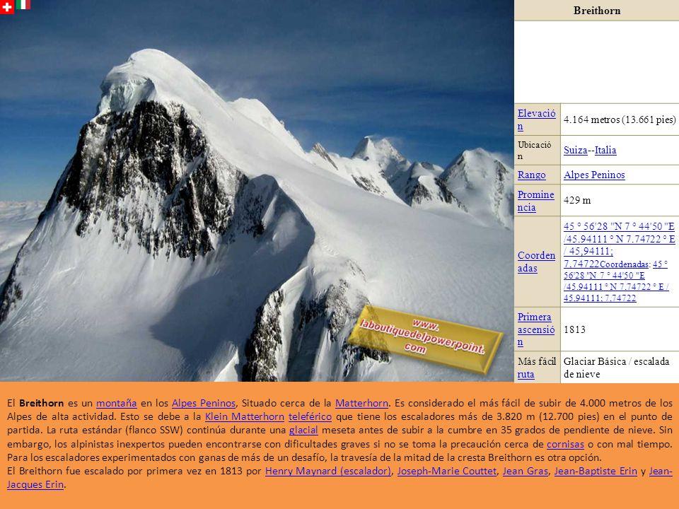 Dent d Hérens Elevación4.171 metros (13.684 pies) Ubicación Valle de AostaValle de Aosta, Italia / Valais, SuizaItalia ValaisSuiza RangoAlpes Peninos Prominencia692 m (2.270 pies) Coordenada s 45 ° 58 12.2 N 7 ° 36 18.3 E /45.970056 ° N 7.605083 ° E / 45.970056; 7.605083 Coordenadas45 ° 58 12.2 N 7 ° 36 18.3 E /45.970056 ° N 7.605083 ° E / 45.970056; 7.605083 Coordenadas: 45 ° 58 12.2 N 7 ° 36 18.3 E /45.970056 ° N 7.605083 ° E / 45.970056; 7.605083 45 ° 58 12.2 N 7 ° 36 18.3 E /45.970056 ° N 7.605083 ° E / 45.970056; 7.605083 Primera ascensión 12 de agosto12 de agosto 1863 por Florencia Crauford Grove, William Edward Hall, Reginald Somerled Macdonald, Montagu Woodmass, Melchior Anderegg, Jean-Pierre Cachat y Peter Perren1863Florencia Crauford Grove Más fácil ruta ruta Sur-arista oeste y el flanco oeste de la cabaña de Aosta (PD +)PD + El Dent d Hérens (4.171 m) es una montaña ubicado en los Alpes Peninos, Situada en la frontera entre la Italia y Suiza.