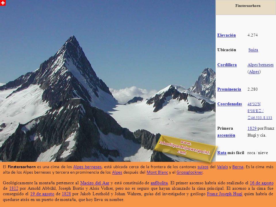Finsteraarhorn Elevación4.274 Ubicación Suiza Cordillera Alpes berneses Alpes berneses (Alpes)Alpes Prominencia2.280 Coordenadas 46°32N 8°08E / 46.533, 8.133 Primera ascensión ascensión 18291829 por Franz Hugi y cia.