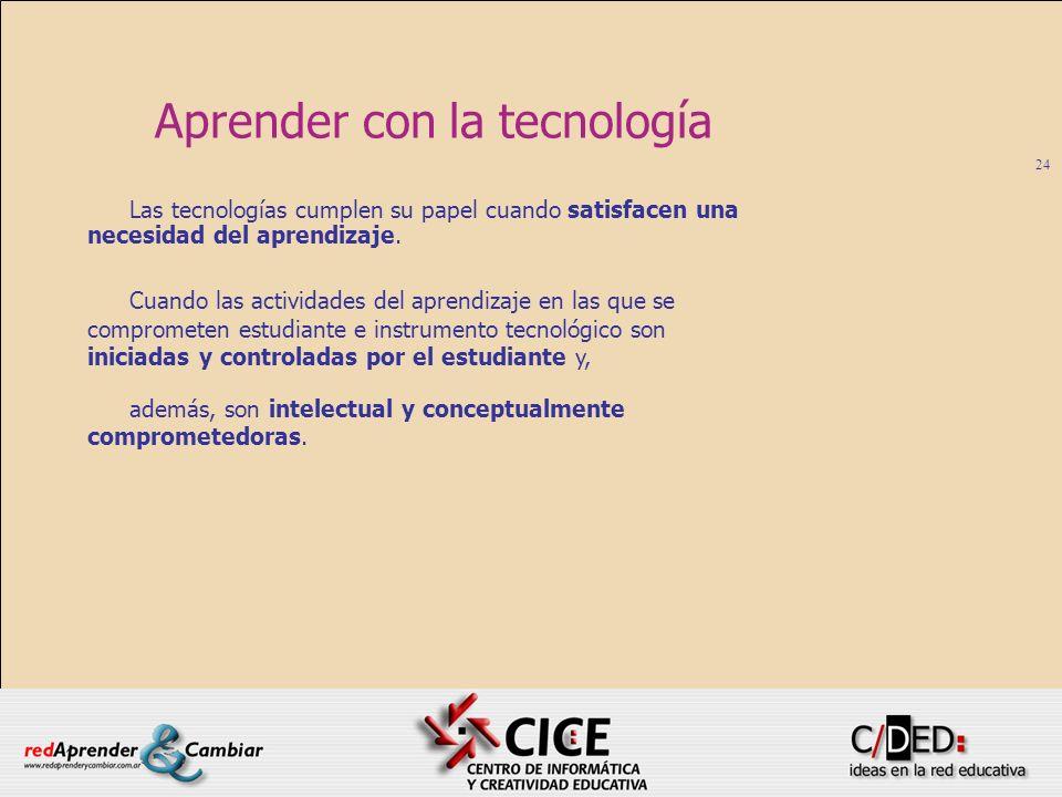 24 Aprender con la tecnología Las tecnologías cumplen su papel cuando satisfacen una necesidad del aprendizaje. Cuando las actividades del aprendizaje