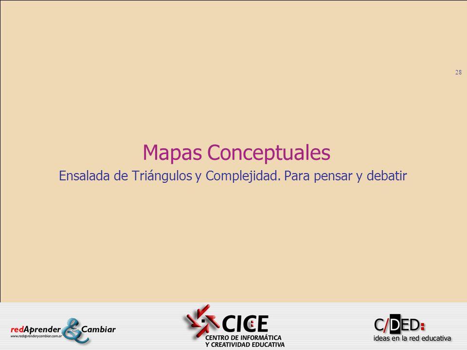 28 Mapas Conceptuales Ensalada de Triángulos y Complejidad. Para pensar y debatir