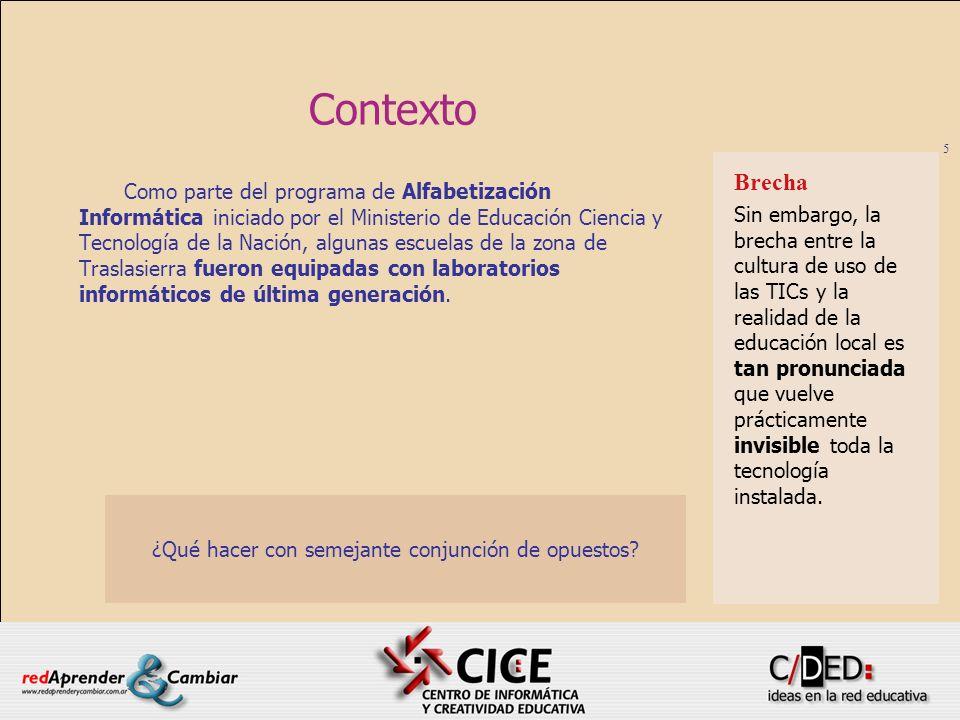 5 Contexto Como parte del programa de Alfabetización Informática iniciado por el Ministerio de Educación Ciencia y Tecnología de la Nación, algunas es