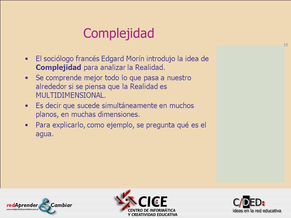 55 Complejidad El sociólogo francés Edgard Morín introdujo la idea de Complejidad para analizar la Realidad. Se comprende mejor todo lo que pasa a nue