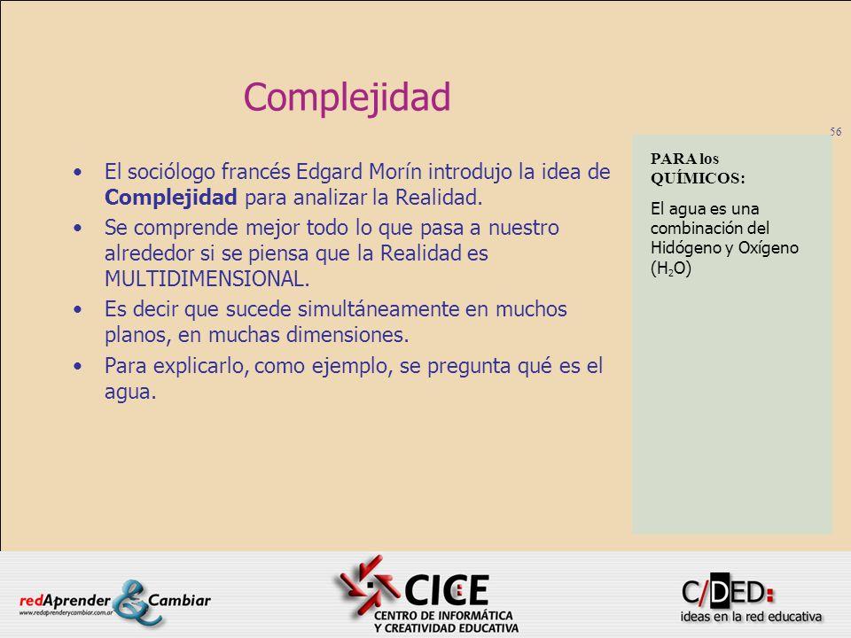 56 Complejidad El sociólogo francés Edgard Morín introdujo la idea de Complejidad para analizar la Realidad. Se comprende mejor todo lo que pasa a nue