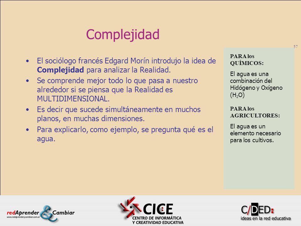 57 Complejidad El sociólogo francés Edgard Morín introdujo la idea de Complejidad para analizar la Realidad. Se comprende mejor todo lo que pasa a nue