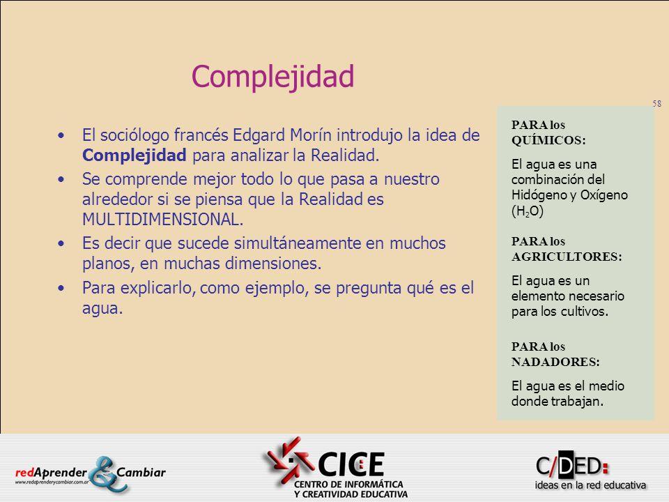 58 Complejidad El sociólogo francés Edgard Morín introdujo la idea de Complejidad para analizar la Realidad. Se comprende mejor todo lo que pasa a nue