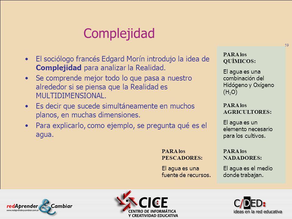 59 Complejidad El sociólogo francés Edgard Morín introdujo la idea de Complejidad para analizar la Realidad. Se comprende mejor todo lo que pasa a nue