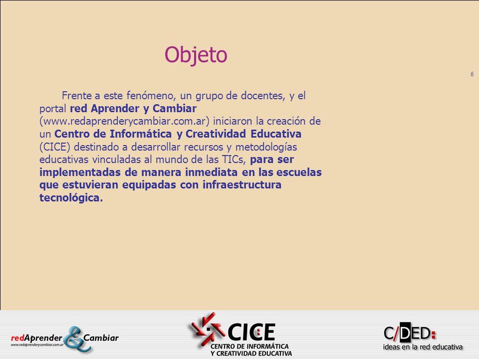 6 Objeto Frente a este fenómeno, un grupo de docentes, y el portal red Aprender y Cambiar (www.redaprenderycambiar.com.ar) iniciaron la creación de un