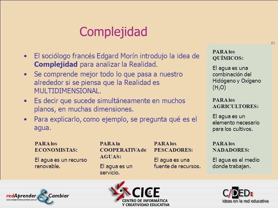 61 Complejidad El sociólogo francés Edgard Morín introdujo la idea de Complejidad para analizar la Realidad. Se comprende mejor todo lo que pasa a nue