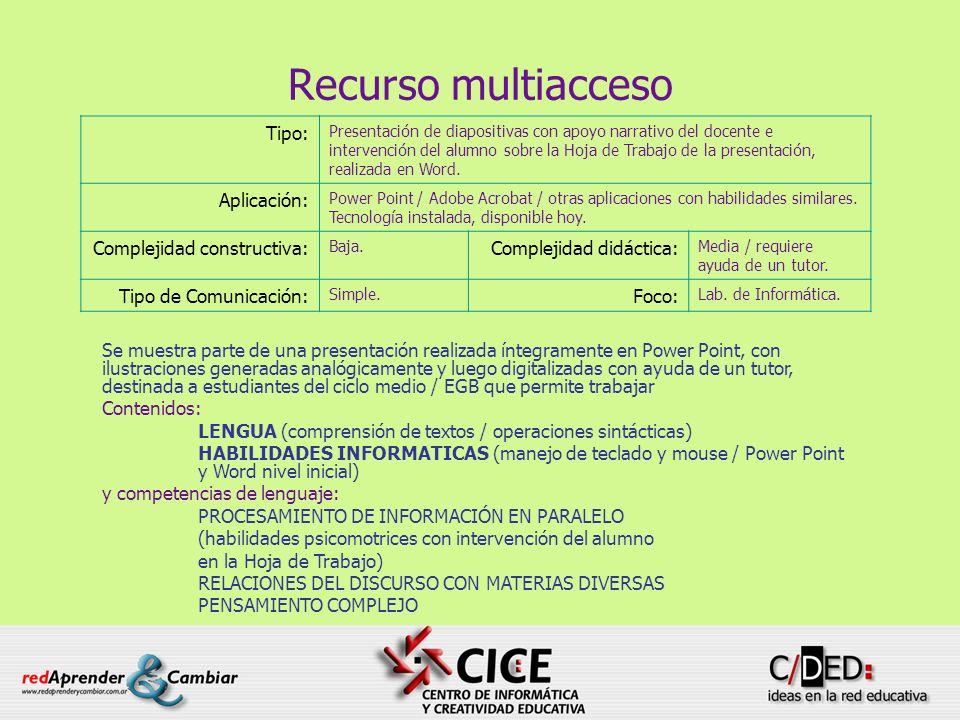 66 Recurso multiacceso Se muestra parte de una presentación realizada íntegramente en Power Point, con ilustraciones generadas analógicamente y luego