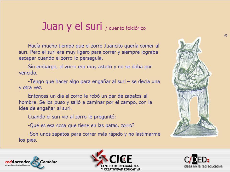 69 Juan y el suri / cuento folclórico Hacía mucho tiempo que el zorro Juancito quería comer al suri. Pero el suri era muy ligero para correr y siempre