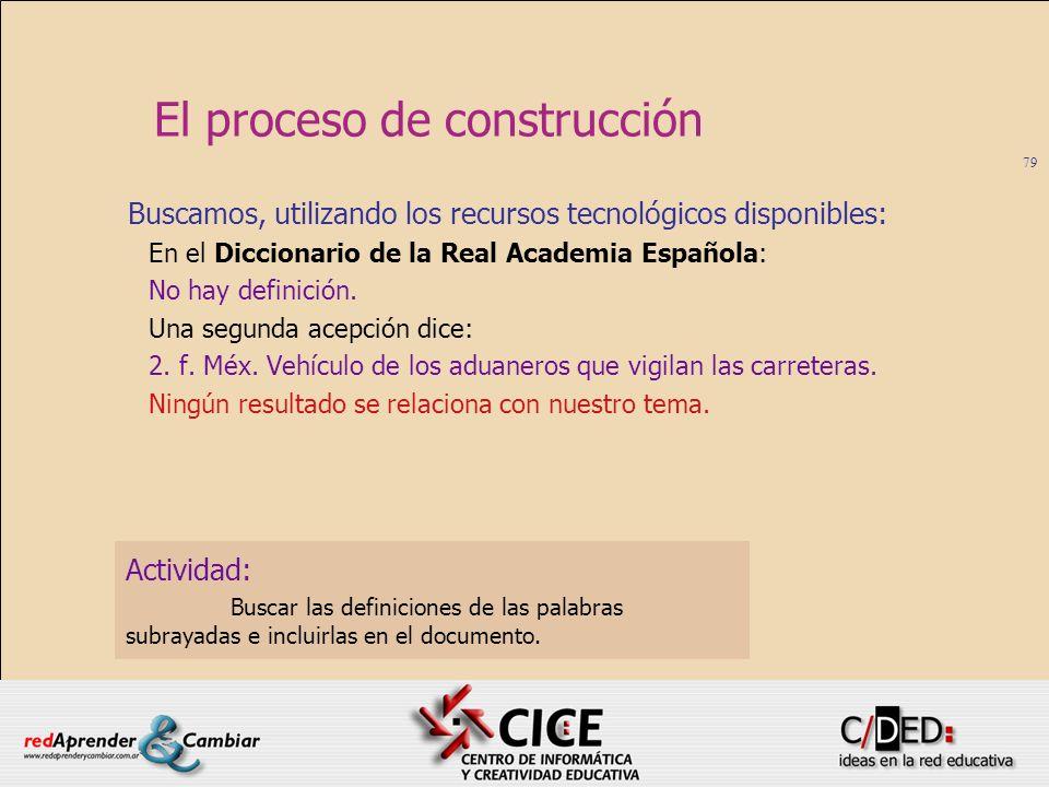 79 El proceso de construcción Buscamos, utilizando los recursos tecnológicos disponibles: En el Diccionario de la Real Academia Española: No hay defin