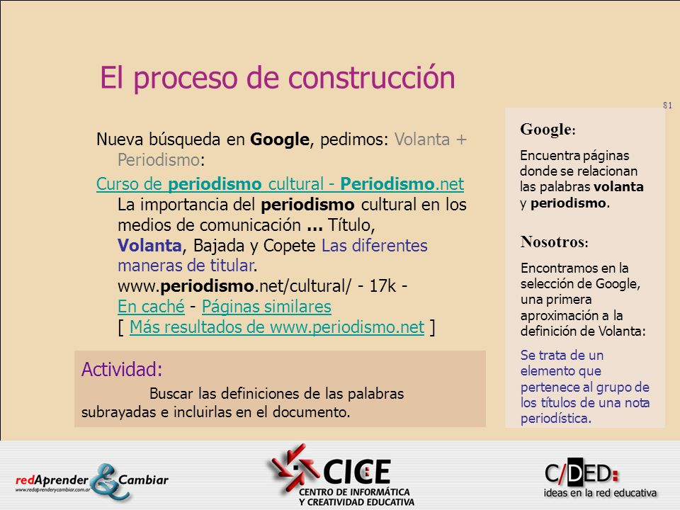 81 El proceso de construcción Actividad: Buscar las definiciones de las palabras subrayadas e incluirlas en el documento. Nueva búsqueda en Google, pe