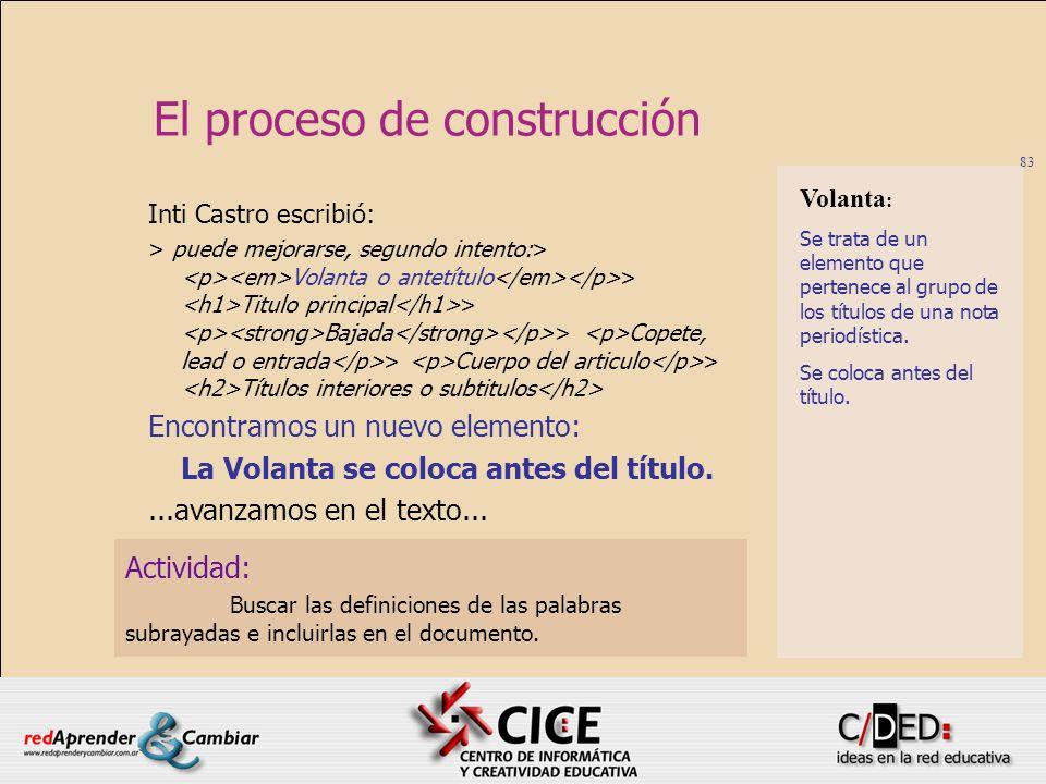 83 El proceso de construcción Actividad: Buscar las definiciones de las palabras subrayadas e incluirlas en el documento. Inti Castro escribió: > pued