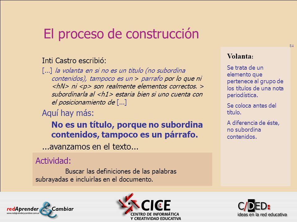 84 El proceso de construcción Actividad: Buscar las definiciones de las palabras subrayadas e incluirlas en el documento. Inti Castro escribió: [...]