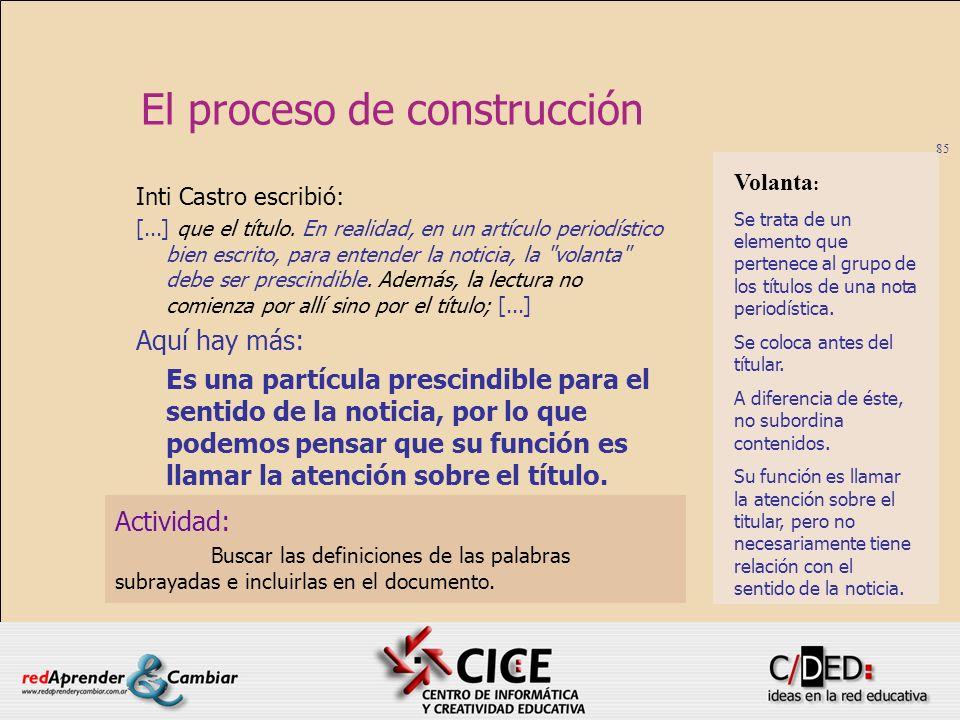 85 El proceso de construcción Actividad: Buscar las definiciones de las palabras subrayadas e incluirlas en el documento. Inti Castro escribió: [...]