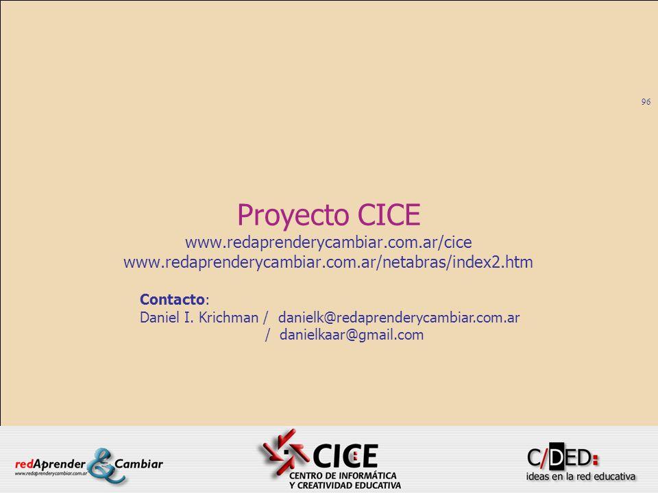 96 Proyecto CICE www.redaprenderycambiar.com.ar/cice www.redaprenderycambiar.com.ar/netabras/index2.htm Contacto: Daniel I. Krichman / danielk@redapre