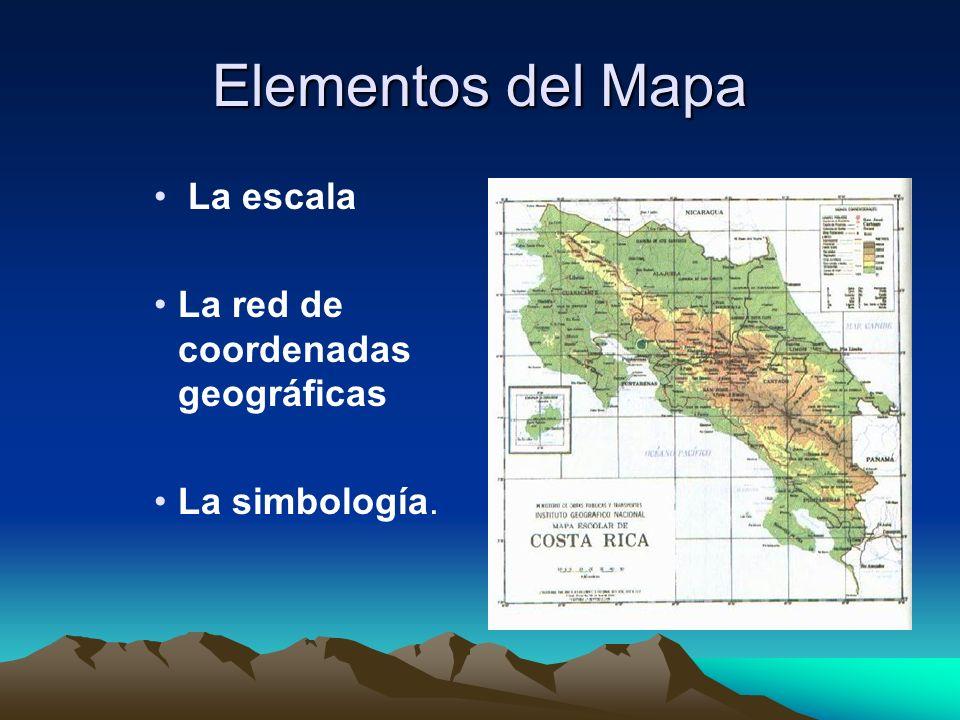 Elementos del Mapa La escala La red de coordenadas geográficas La simbología.