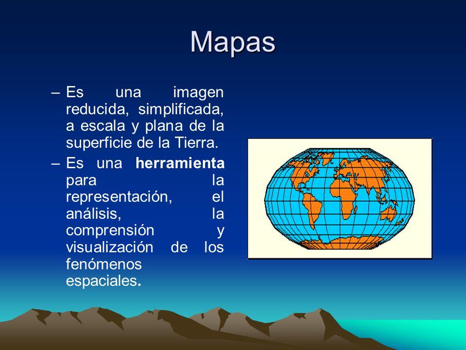 Mapas –E–Es una imagen reducida, simplificada, a escala y plana de la superficie de la Tierra. –E–Es una herramienta para la representación, el anális