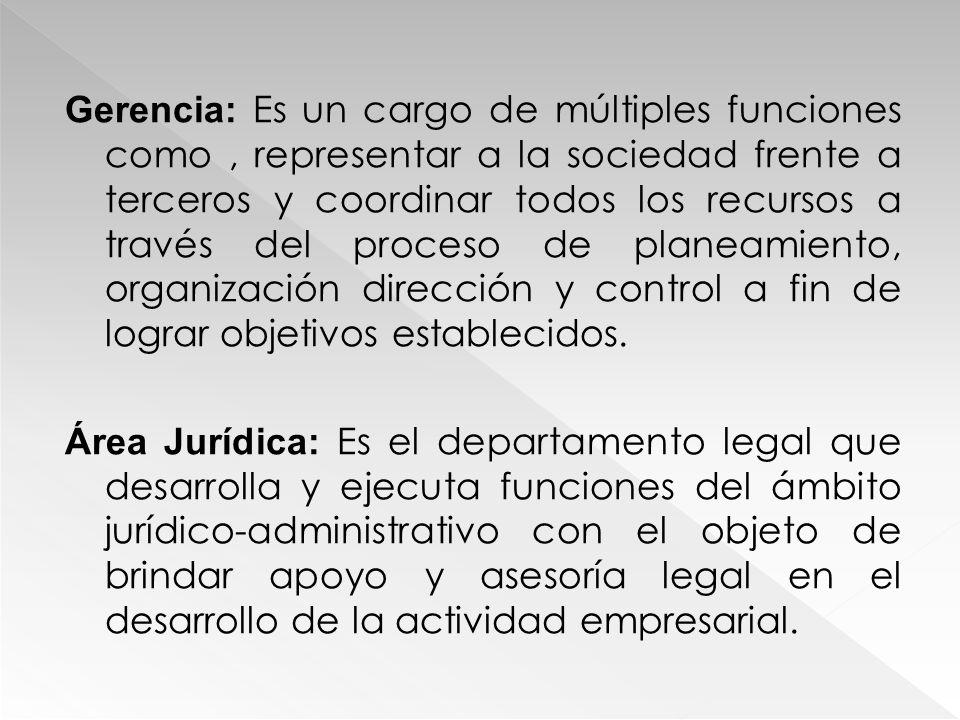 Gerencia: Es un cargo de múltiples funciones como, representar a la sociedad frente a terceros y coordinar todos los recursos a través del proceso de