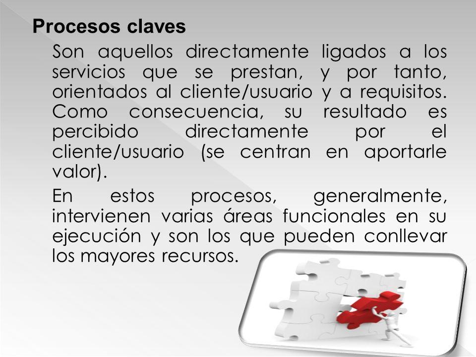 Procesos claves Son aquellos directamente ligados a los servicios que se prestan, y por tanto, orientados al cliente/usuario y a requisitos. Como cons