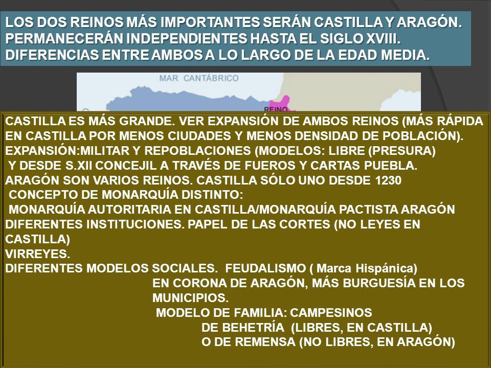LOS DOS REINOS MÁS IMPORTANTES SERÁN CASTILLA Y ARAGÓN. PERMANECERÁN INDEPENDIENTES HASTA EL SIGLO XVIII. DIFERENCIAS ENTRE AMBOS A LO LARGO DE LA EDA