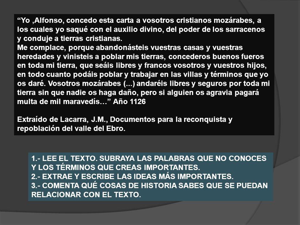 Yo,Alfonso, concedo esta carta a vosotros cristianos mozárabes, a los cuales yo saqué con el auxilio divino, del poder de los sarracenos y conduje a t