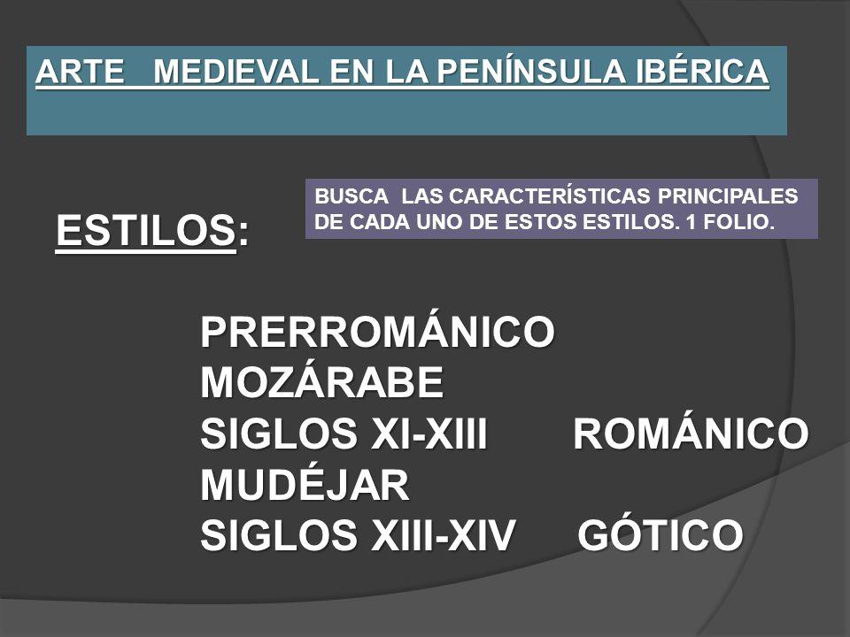 ARTE MEDIEVAL EN LA PENÍNSULA IBÉRICA ESTILOS: PRERROMÁNICO PRERROMÁNICO MOZÁRABE MOZÁRABE SIGLOS XI-XIII ROMÁNICO SIGLOS XI-XIII ROMÁNICO MUDÉJAR MUD