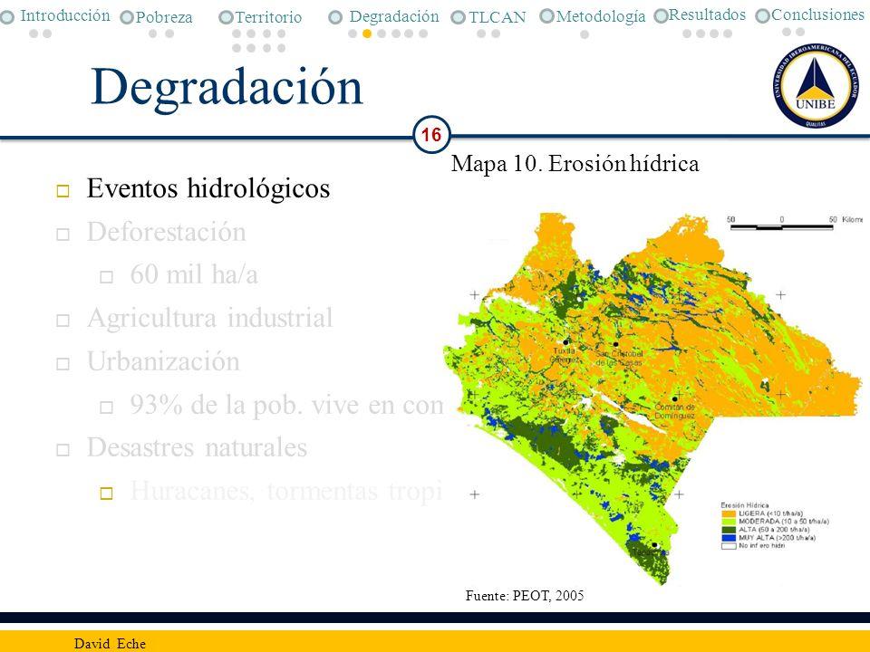 Degradación 16 David Eche Eventos hidrológicos Deforestación 60 mil ha/a Agricultura industrial Urbanización 93% de la pob. vive en comunidades – 1000