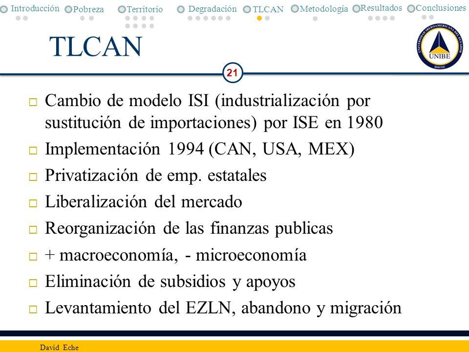 TLCAN Cambio de modelo ISI (industrialización por sustitución de importaciones) por ISE en 1980 Implementación 1994 (CAN, USA, MEX) Privatización de e