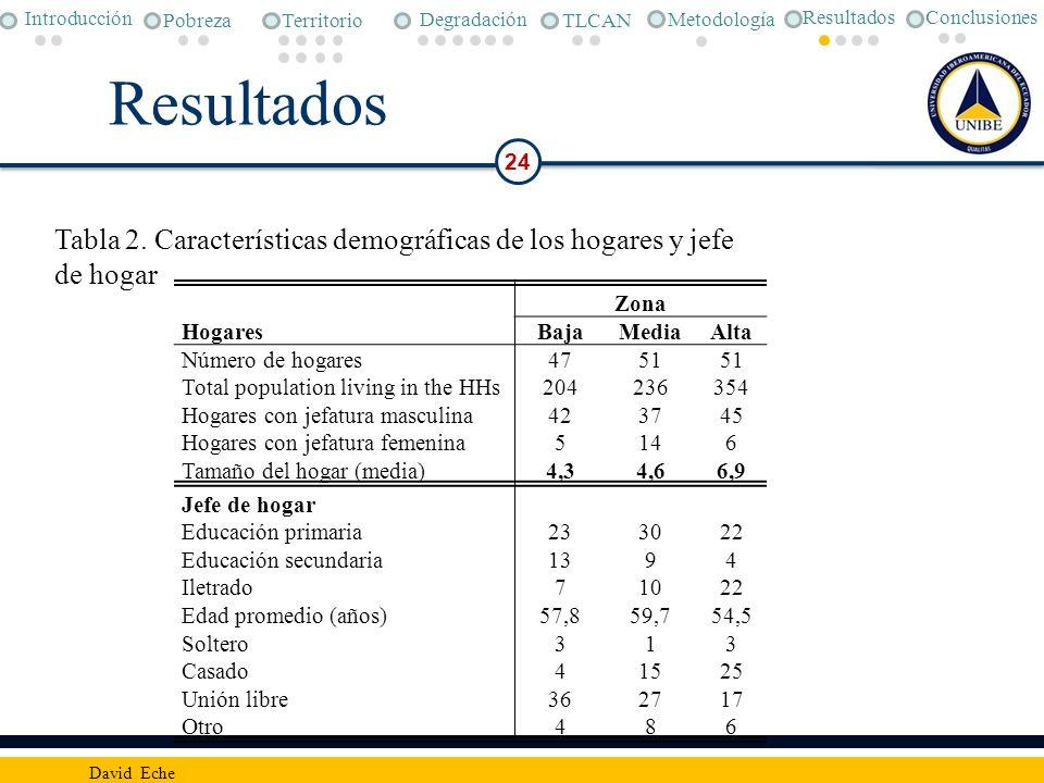 Resultados 24 David Eche Hogares Zona BajaMediaAlta Número de hogares4751 Total population living in the HHs204236354 Hogares con jefatura masculina42