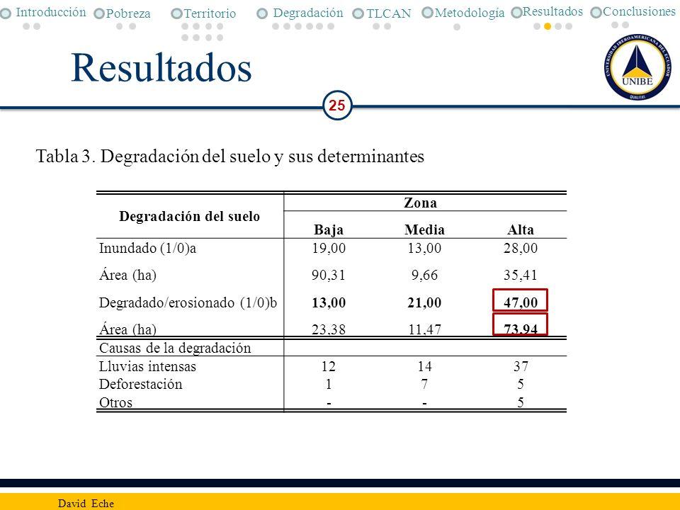 Resultados 25 David Eche Degradación del suelo Zona BajaMediaAlta Inundado (1/0)a19,0013,0028,00 Área (ha)90,319,6635,41 Degradado/erosionado (1/0)b13