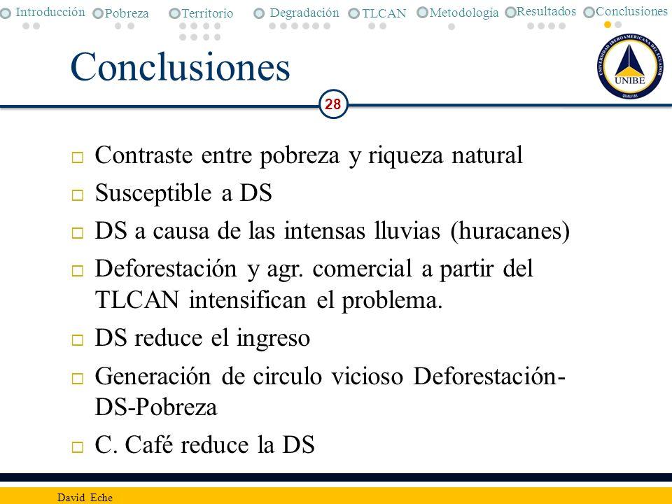 Conclusiones 28 David Eche Contraste entre pobreza y riqueza natural Susceptible a DS DS a causa de las intensas lluvias (huracanes) Deforestación y a