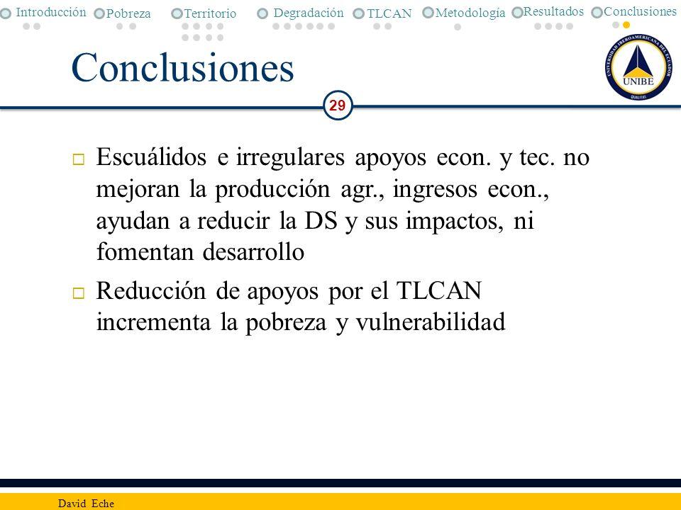 Conclusiones 29 David Eche Escuálidos e irregulares apoyos econ. y tec. no mejoran la producción agr., ingresos econ., ayudan a reducir la DS y sus im