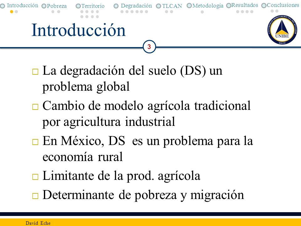 Introducción La degradación del suelo (DS) un problema global Cambio de modelo agrícola tradicional por agricultura industrial En México, DS es un pro