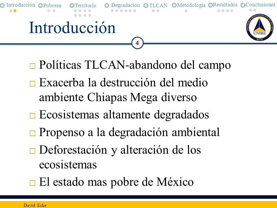 Introducción Políticas TLCAN-abandono del campo Exacerba la destrucción del medio ambiente Chiapas Mega diverso Ecosistemas altamente degradados Prope