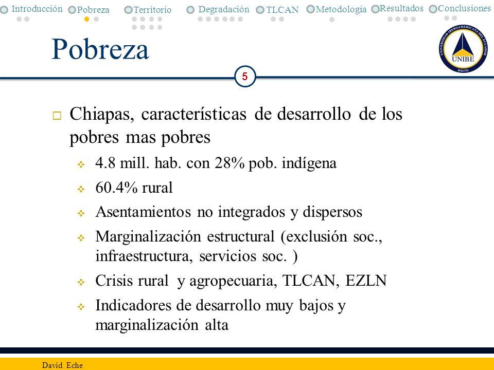 Pobreza Chiapas, características de desarrollo de los pobres mas pobres 4.8 mill. hab. con 28% pob. indígena 60.4% rural Asentamientos no integrados y
