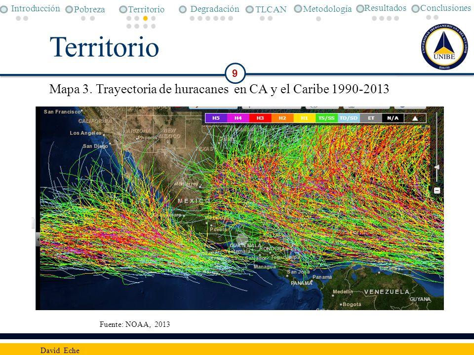 9 David Eche Conclusiones Metodología Pobreza Degradación TLCAN Introducción Territorio Resultados Mapa 3. Trayectoria de huracanes en CA y el Caribe