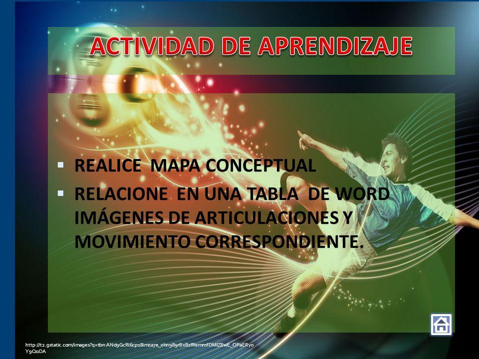 REALICE MAPA CONCEPTUAL RELACIONE EN UNA TABLA DE WORD IMÁGENES DE ARTICULACIONES Y MOVIMIENTO CORRESPONDIENTE. http://t2.gstatic.com/images?q=tbn:ANd