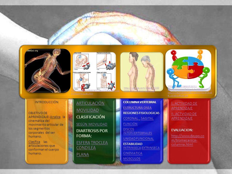 INTRODUCCIÓN OBJETIVO DE APRENDIZAJE: Analiza la cinemática del movimiento articular de los segmentos corporales del ser humano. Clasifica las articul