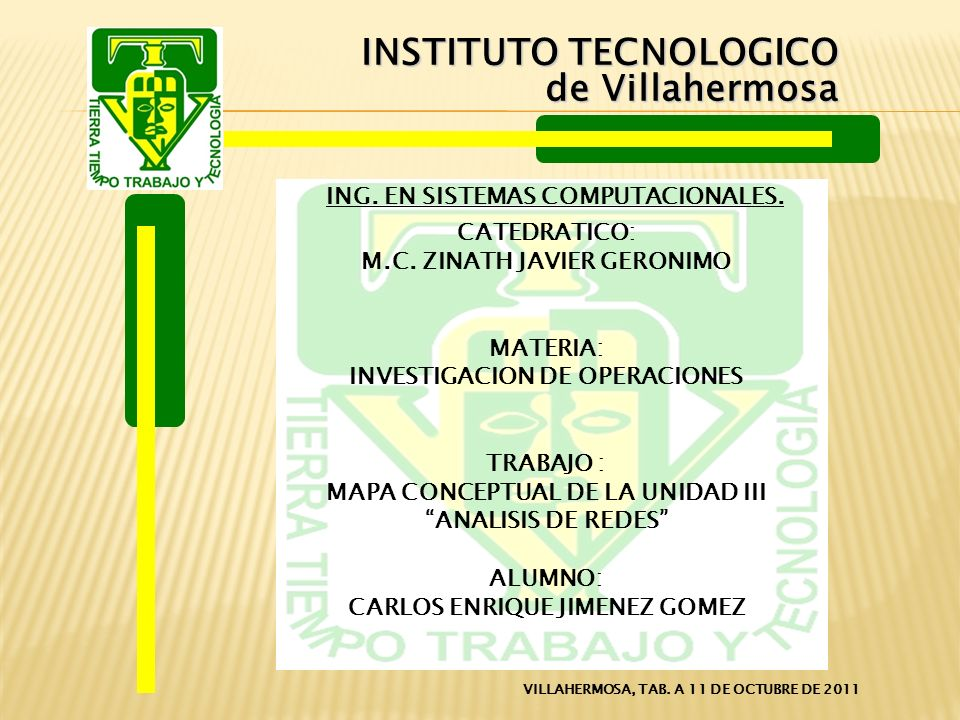 INSTITUTO TECNOLOGICO de Villahermosa CATEDRATICO: M.C.