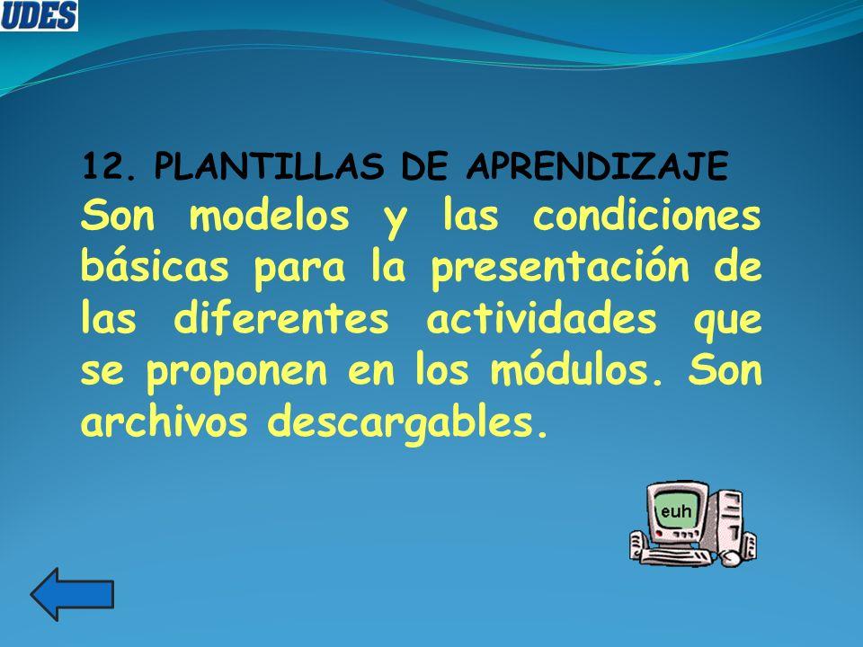 12. PLANTILLAS DE APRENDIZAJE Son modelos y las condiciones básicas para la presentación de las diferentes actividades que se proponen en los módulos.