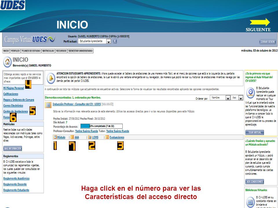 Haga click en el número para ver las Características del acceso directo INICIO SIGUIENTE