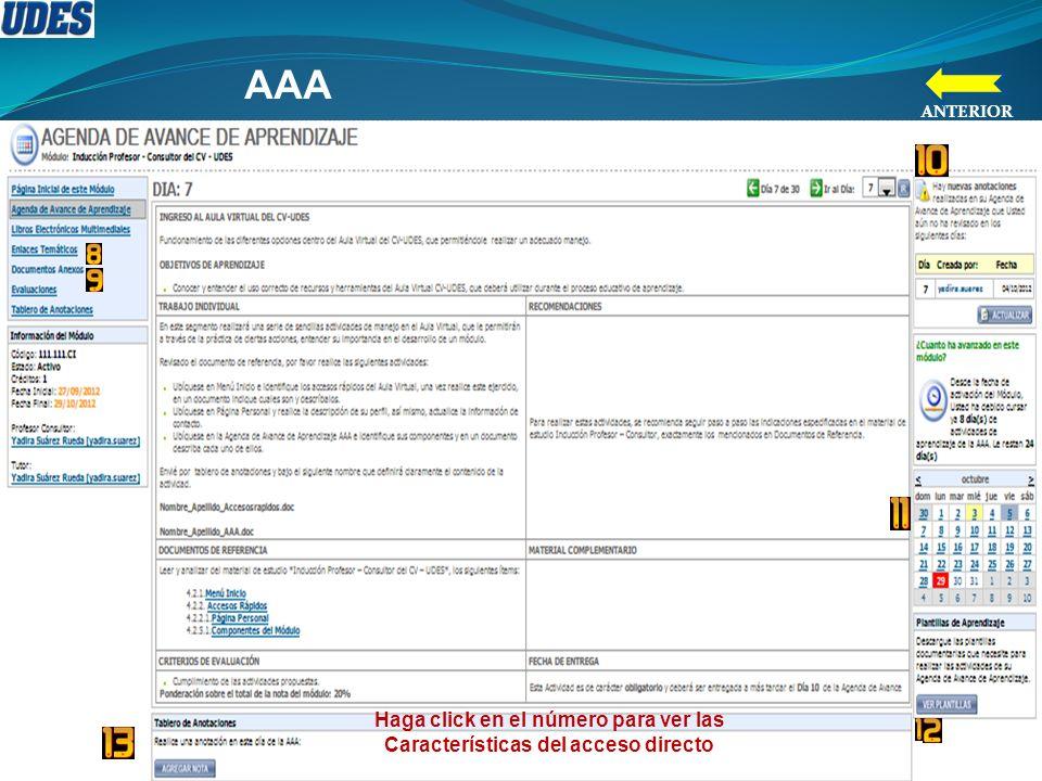 Haga click en el número para ver las Características del acceso directo AAA ANTERIOR