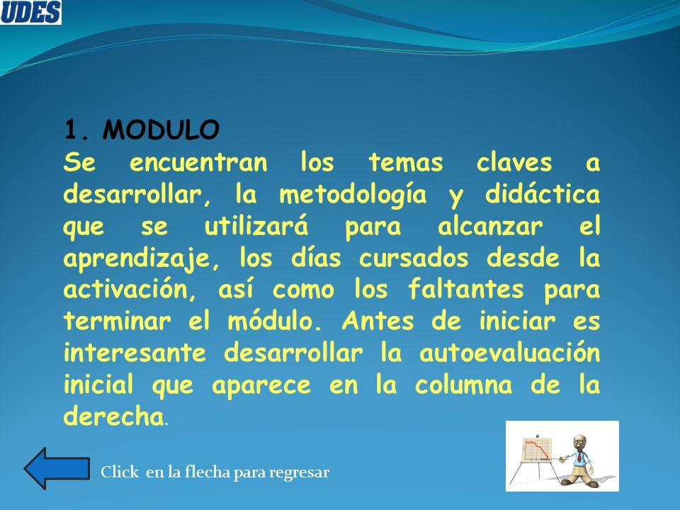 1. MODULO Se encuentran los temas claves a desarrollar, la metodología y didáctica que se utilizará para alcanzar el aprendizaje, los días cursados de