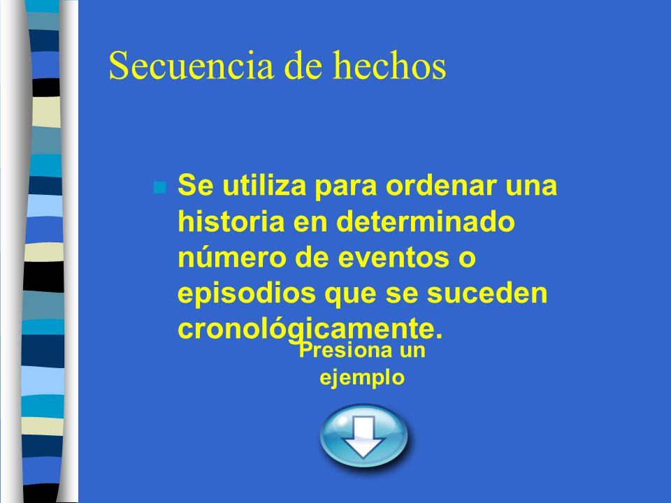 Secuencia de hechos n Se utiliza para ordenar una historia en determinado número de eventos o episodios que se suceden cronológicamente.