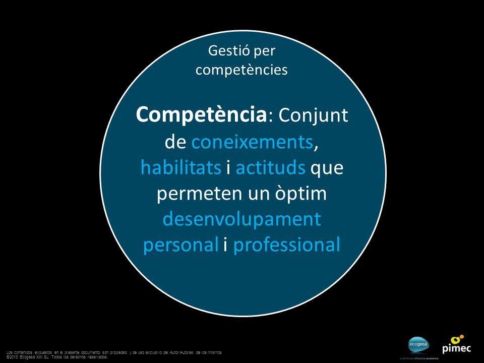 Gestió per competències Competència : Conjunt de coneixements, habilitats i actituds que permeten un òptim desenvolupament personal i professional Los