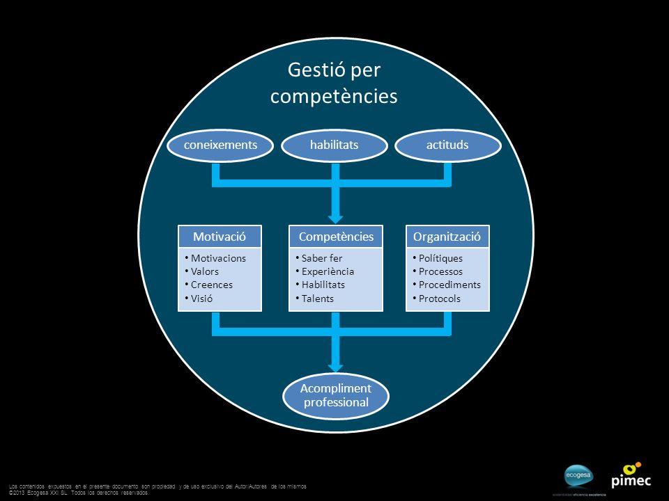 Gestió per competències coneixementshabilitatsactituds Motivació Motivacions Valors Creences Visió Competències Saber fer Experiència Habilitats Talen